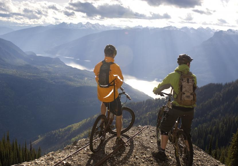Two mountain bikers